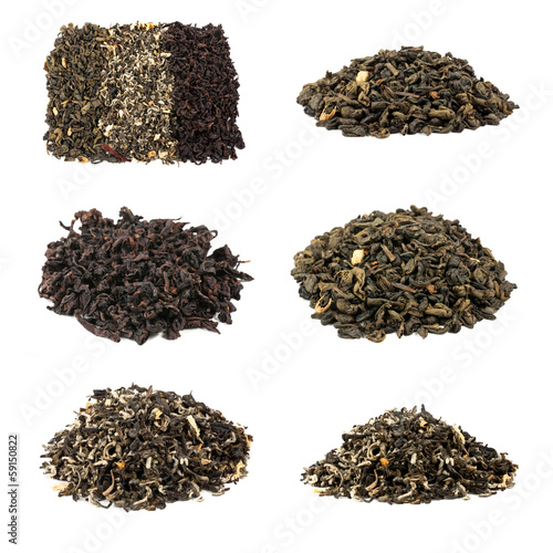 tea collection isolated on white background