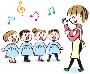 合唱する幼稚園児