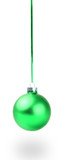 green christmas ball . Isolated over white.