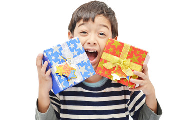 Little boy happy with gift box