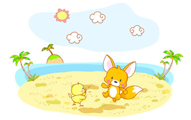 funny squirrel and chick cartoon and beach background
