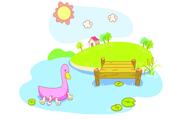 cartoon duck and ducklings with island background