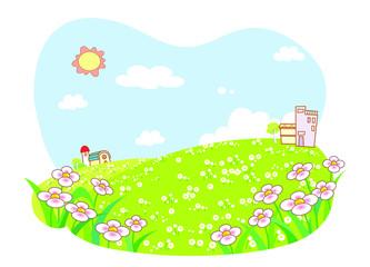 Rural cartoon landscape