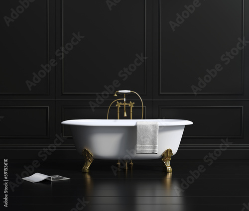 Isolated classic bathtub on black wood floor