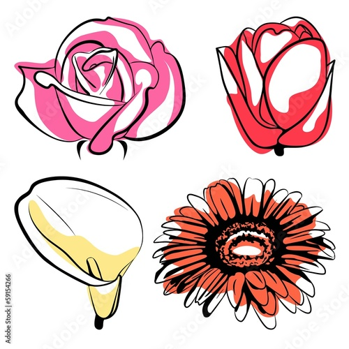 Flowers in pink, red, yellow and orange