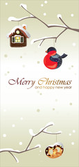 Merry Christmas and Happy New Year greeting card  vertical