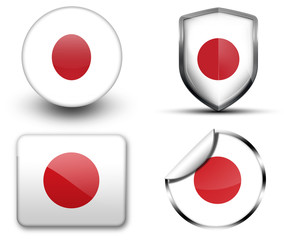 Japan flag button sticker and badge