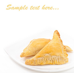 Asian cuisine- chebureki. Pasties isolated on white background.