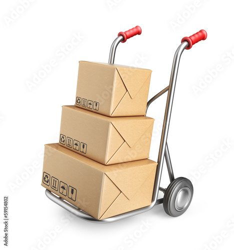 Hand truck with cardboard boxes. 3D Icon isolated on white backg