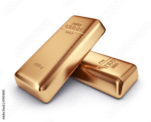 Gold bars. Concept of banking. 3D Icon isolated