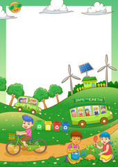 children Save our green world frame
