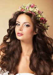 Classy Fashion Model with Perfect Flossy Brown Hair and Wreath o