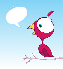 purple bird doodle wallpaper with text bubble
