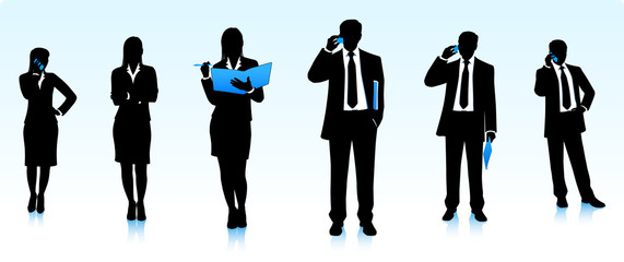 Silhouettes of businessmen and businesswomen