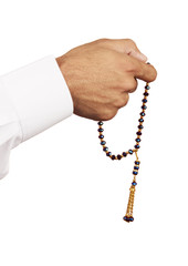 Muslim Male Wears White with Rosary
