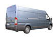 Blue commercial delivery van isolated