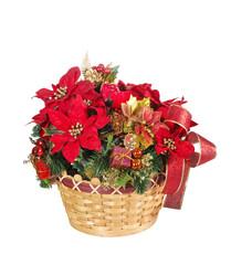 Holiday flower arrangement basket