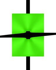 cartoncino verde incastrato in croce nera