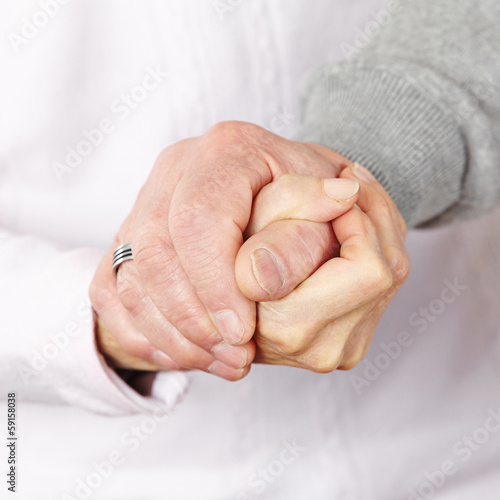canvas print picture Happy senior couple holding hands