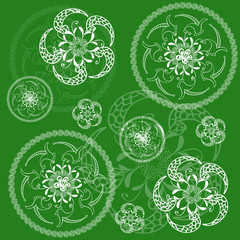 Circular floral green background, tissue or scrapbooking