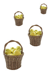 quinces in handcrafted  homemade baskets-vertical