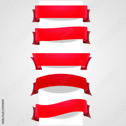 Collection of red tape banners for your design