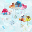 Abstract background with clouds and snowflakes. EPS 10