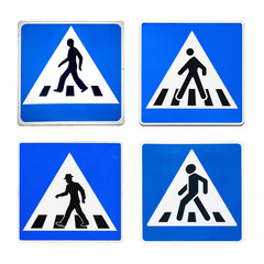 Pedestrian crossing signs from different countries