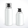Two White Silver Metal Gray Aerosol Spray Metal 3D Bottle Can