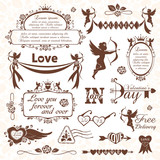 Set of Valentines Day design elements (monochrome version)