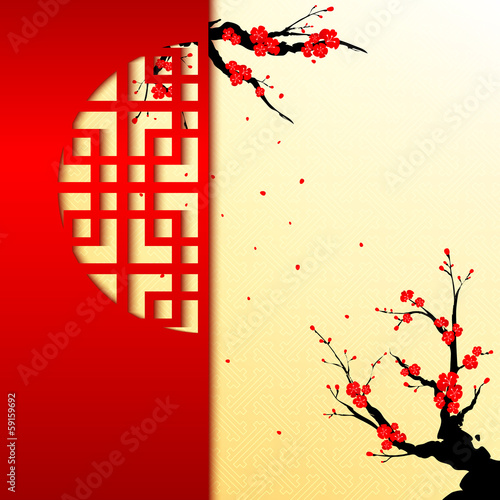 Chinese New Year Cherry Blossom Background