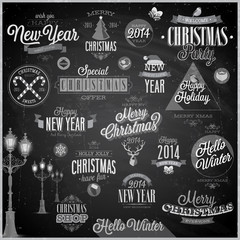 Christmas set - labels and emblems  - Chalkboard.
