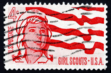 Postage stamp USA 1962 Senior Girl Scout and Flag