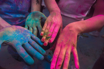 Holi Festival India paint powder on hands
