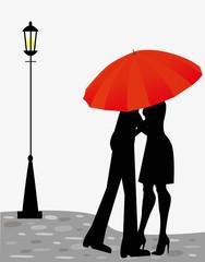 coppia di innamorati sotto l'ombrello