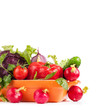 Fresh vegetables in bowl isolated on white background