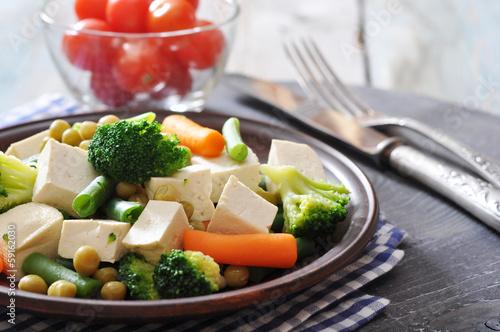 Fotobehang Kruidenierswinkel Tofu with boiled vegetables