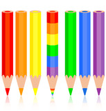 Set of colored pencil, a rainbow pencil near, vector illustratio