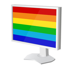 lcd tv  monitor with pride flag on the screen. Vector illustrati