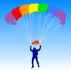 Skydiver, silhouettes a rainbow parachuting vector illustration
