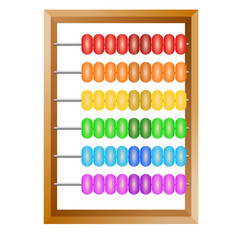 Accounting , a rainbow abacus for financial calculations lies on