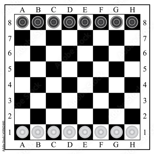 classic checkers,  board and checkers. vector illustration