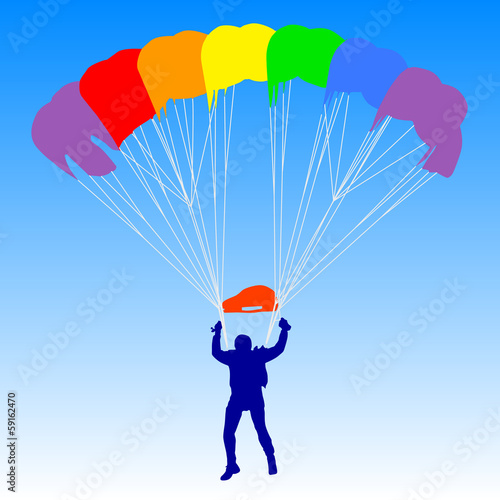 Skydiver, silhouettes a rainbow parachuting vector illustration