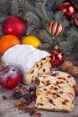 traditional homemade Christmas sweet bread with dried fruit