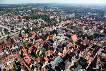 cityscape of Ulm from Ulm Cathedral, Germany