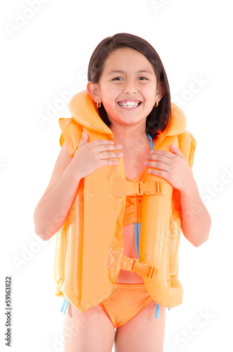Girl in a swimsuit, beachwear, studio shot, life vest