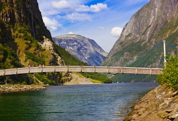 Bridge across fjord Sognefjord - Norway