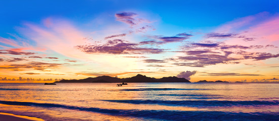 Island Praslin at sunset