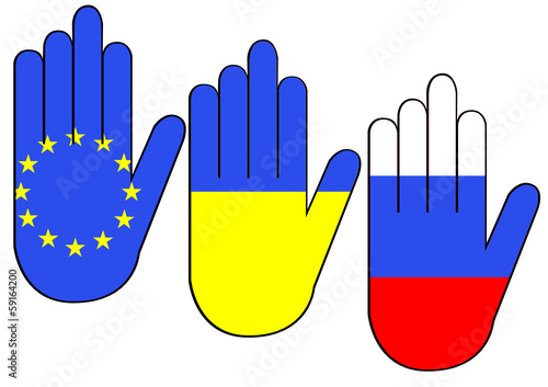 Hands with flags