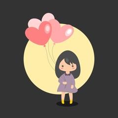 Girl Holding Heart Balloons